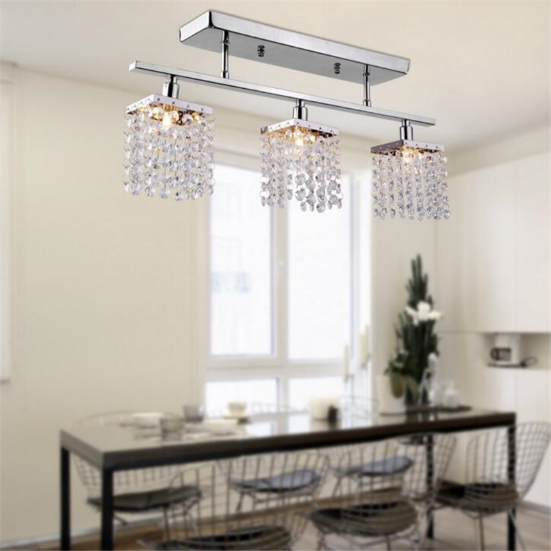 Modern restaurant three K9 Crystal creative dining room bar table dining table lamp simple LED wrought iron meal hanging lamps long restaurant chandeliers creative wrought iron crystal bar lighting modern minimalist living room dining table lamps led lamp