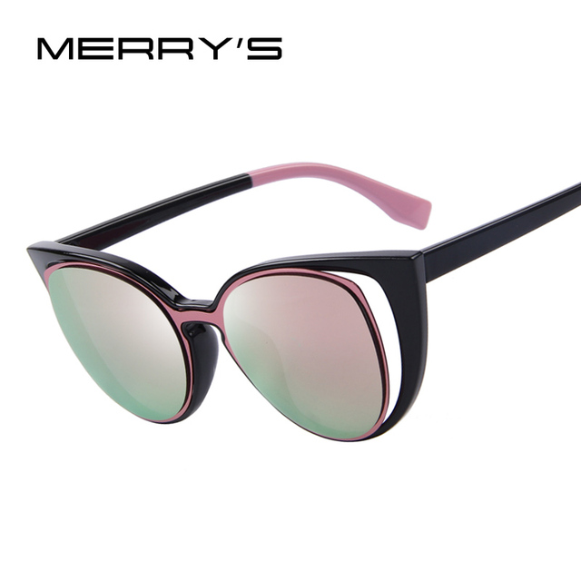fa68298565393 MERRY S Fashion Cat Eye Sunglasses Women Brand Designer Retro Pierced  Female Sun Glasses oculos de sol