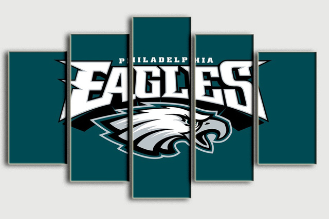 New 5 Panel Hd Printed Oil Painting Philadelphia Eagles Canvas Print Art Home Decor Wall