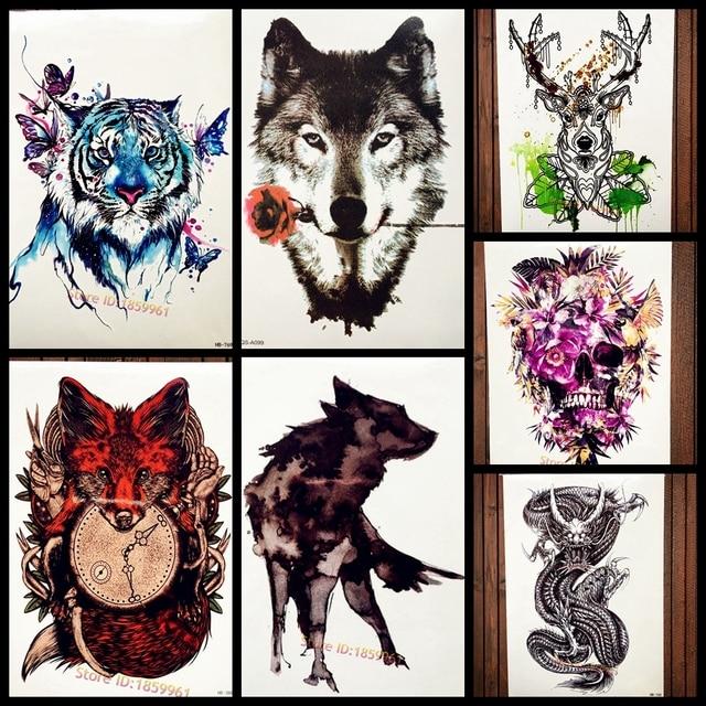 6c394de66 Tatuagem Lobo Com Flor Rosa Romântico Adesivos Tatuagem Temporária Para As  Mulheres Homens Body Art Tatoo