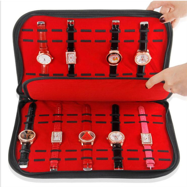 Wholesale fabric Watch Display bags Slot Case Jewelry Storage