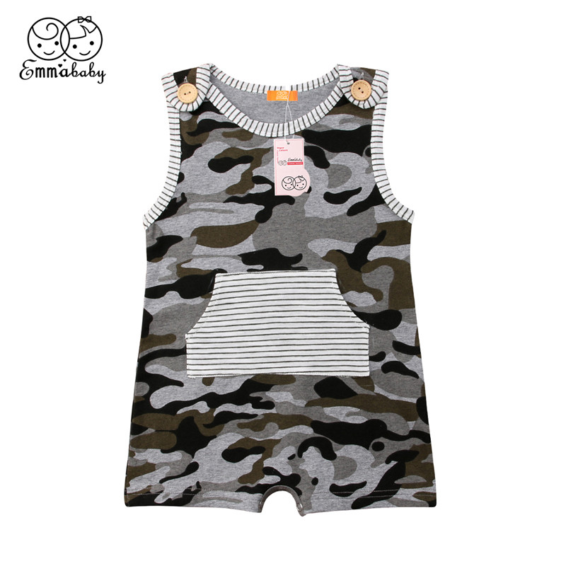 Casual Baby Boys Clothes 2018 Summer Newborn Toddler Baby Boy Camo Romper Sleeveless Bebes Jumpsuit Playsuit New Born Boy Outfit infant newborn toddler baby boy girl clothes summer spring romper playsuit casual short sleeve clothes solid outfits 0 24m