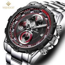 2017 WISHDOIT Brand De Luxe High Qality Quartz Fashion Stainless Steel Mens Watches Famous Male Clock Relogio Masculino