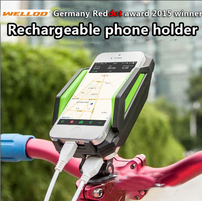 Rechargeable Bicycle Cell Mobile Phone Holder Welloo Road Mountain Bike Mount Holder Cycling Bracket Stands Riding Accessories universal bike bicycle mount cell phones bracket holder stand black