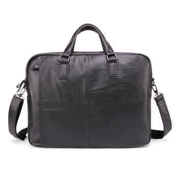 Free ship Men Briefcases Lawyer Genuine Leather Handbag Vintage Laptop Briefcase Messenger Bags Casual Men's Bag For Documents - DISCOUNT ITEM  49% OFF All Category