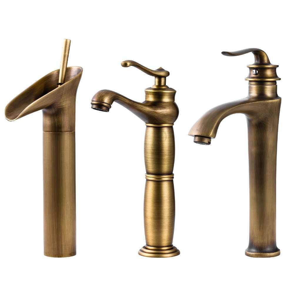 Wine Glass styl jednouchwytowa wodospad łazienka umywalka kran mosiądz antyczne gorące i zimne łazienka bateria zlewozmywakowa krany kuchenne kran