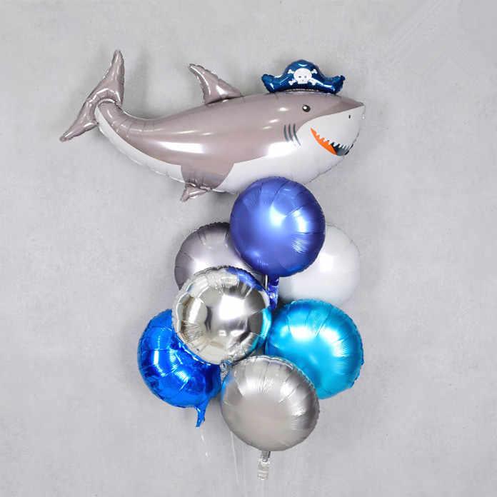 1 pc Big สีเทาฉลามโจรสลัดบอลลูนสัตว์ทะเลฉลามขนาดใหญ่เด็ก Baby Boy Party Favor ฟอยล์บอลลูนพองของเล่น Globos