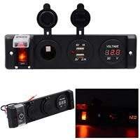 DC 12V IP66 16A Dual USB Car Charger Four Bit Power Control Switch Panel with Voltmeter / Cigarette Socket / Red Light for Car