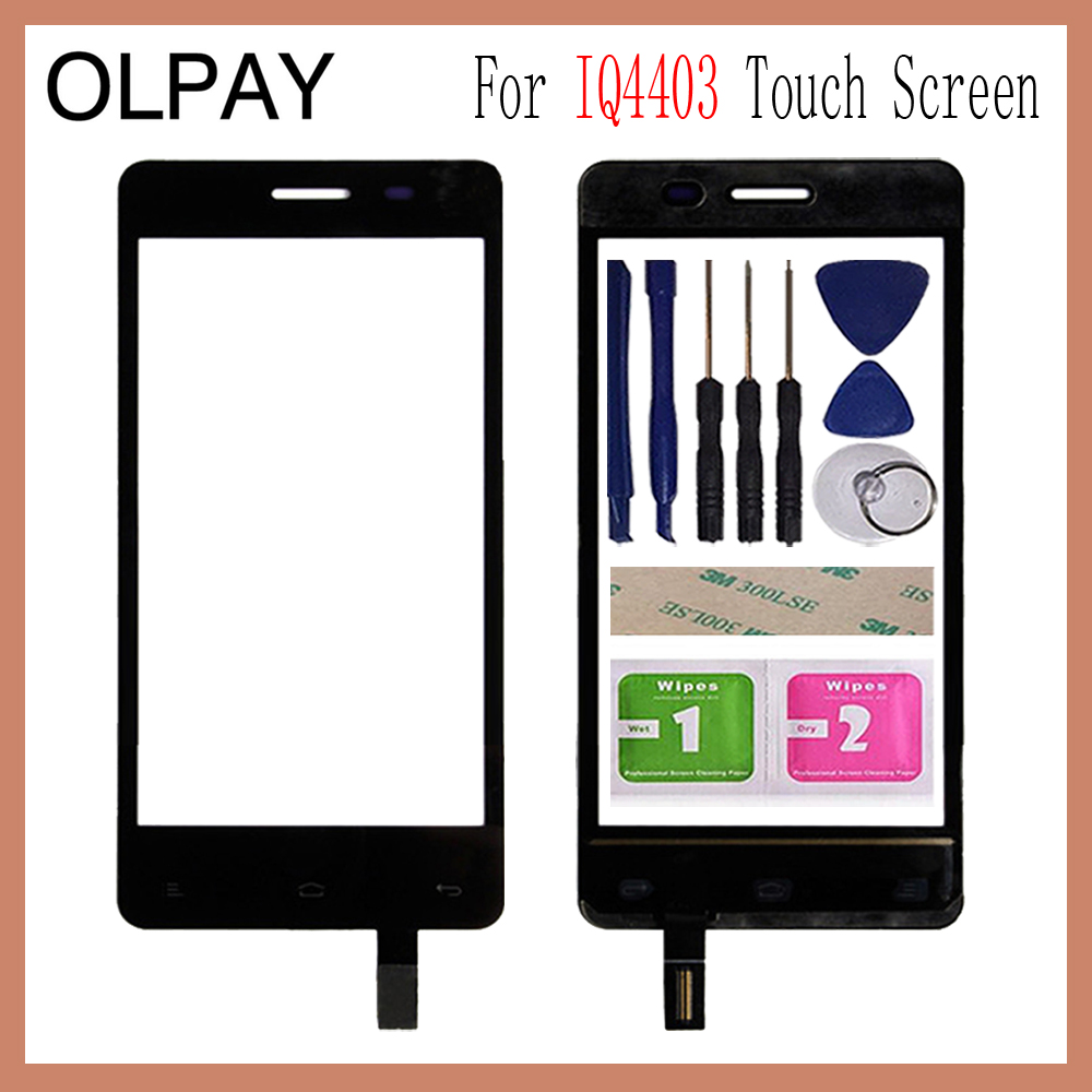 OLPAY 4.5'' For Fly IQ4403 4403 Energie 3 Touch Screen Glass Digitizer Panel Lens Sensor Glass Free Adhesive And Wipes