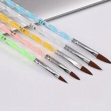 Pro Round Sable Acrylic Nail Art Brush Size  4 6 8 10 12 Set Pack of 5