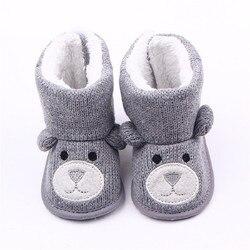 Детские зимние ботинки для малышей; обувь для новорожденных с милым медведем из мультфильма; обувь для маленьких мальчиков и девочек; обувь ...