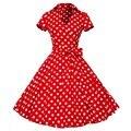 4XL más el tamaño 2016 Nuevas Mujeres Del Verano Retro Vintage Pin Up vestidos de 50 s 60 s algodón polka dots dress vestido de manga corta fiesta
