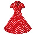 4XL plus size 2016 New Summer Women Retro Vintage Pin Up Dresses 50s 60s Polka dots Cotton Dress Short sleeve Vestido de fiesta