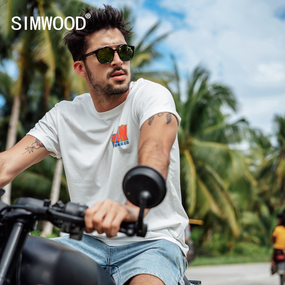 SIMWOOD 2019 Summer   t     shirts   Men Fashion Casual Letter Print Tops Brand Clothing Tees O-Neck Short Sleeve High Quality 190067