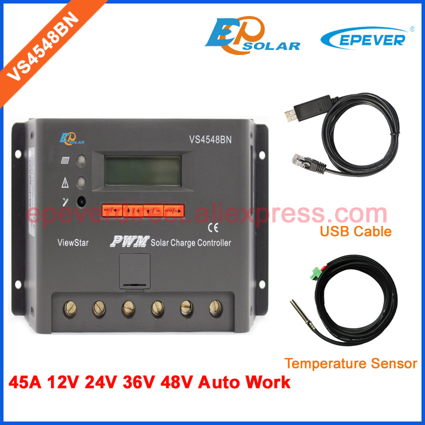 48v PWM solar charger controller 12v 45A 45amp USB cable and temperature sensor cable VS4548BN EPEVER 48v PWM solar charger controller 12v 45A 45amp USB cable and temperature sensor cable VS4548BN EPEVER