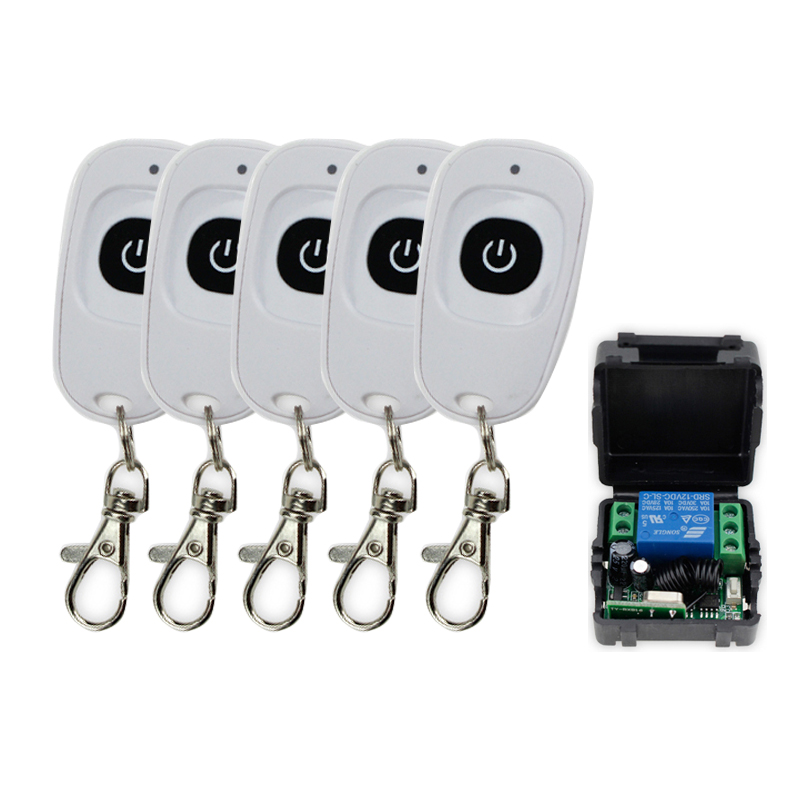315MHz/433MHz DC12V 1CH RF Wireless Remote Control Switch Door Opener 5 Transmitters with receiver for door control lock system ac 220v 30a relay 1 ch 1ch rf wireless remote control switch system 315 433 92 2x transmitters receiver latched a on b off