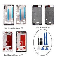 Para Huawei Ascend P6 P7 P10 Placa Oriente Moldura Quadro Habitação Oriente Tampa peças de reposição para Huawei P6 P7 P10 com Ferramentas