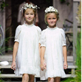 New Arrive 2016 monsoon  girls dress baby sundress white short sleeve dress vestidos babymmclothes TY240
