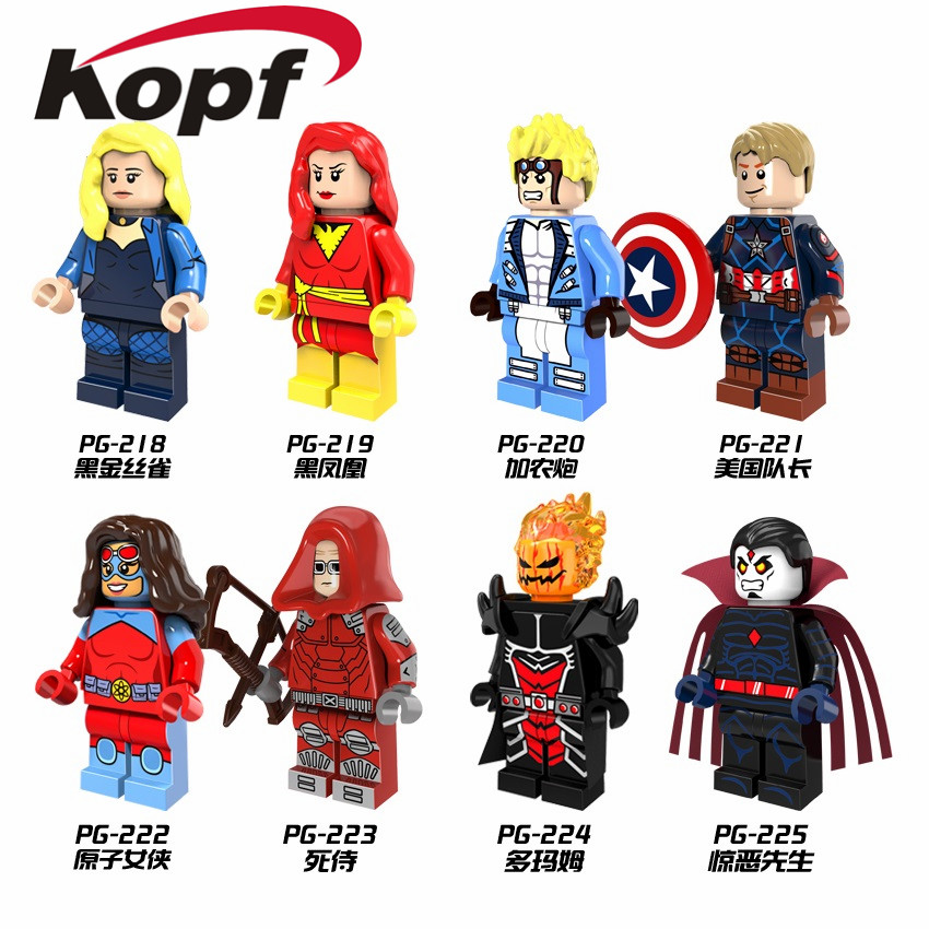 Single Sale Super Heroes X-Men Black Canary Dormammu Dark Phoenix Captain America Cannonball Building Blocks Kids Toys PG8059 ...
