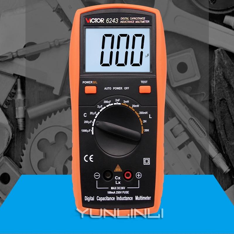 Medidor de Capacitância Digital com Backlight Instrumento de Teste de Medidor de Indutância Handheld High-precision Display Digital Vc6243