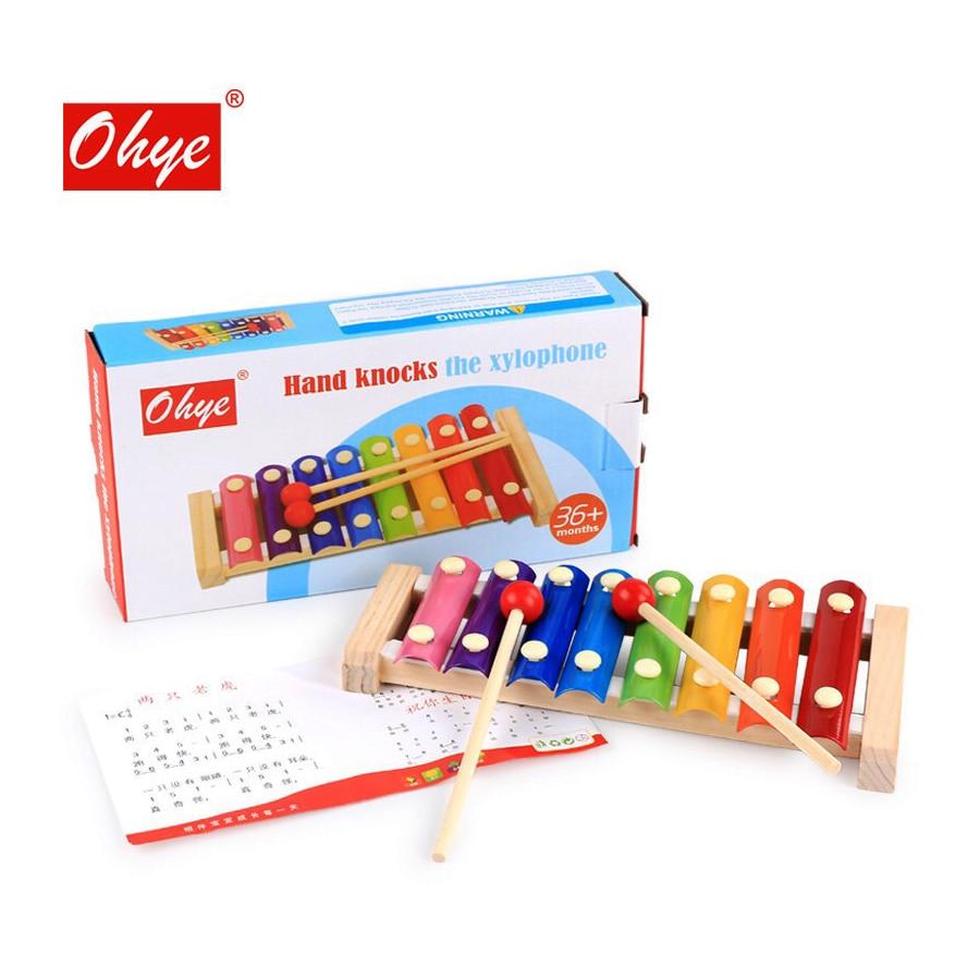De Madera de Marimba juguetes ocho tono Piano instrumento Musical juguetes de música de niños la iluminación la educación Montessori enseñanza SIDA