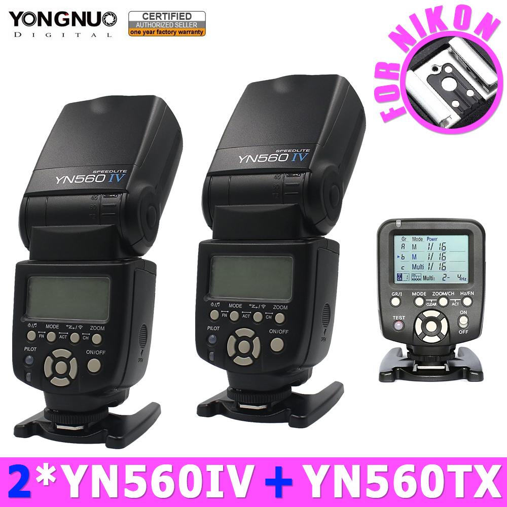 Prix pour 2 pcs yongnuo yn560iv 560iv speedlite flash + yn560-tx sans fil contrôleur de flash pour nikon dslr d100 d90 d80 d3000 d5000