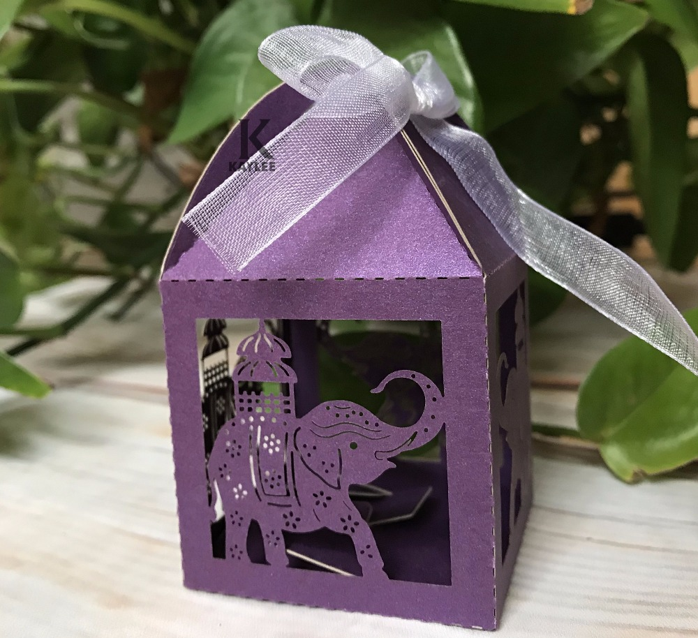 100pcs Purple Elephant Pearl Wedding Favor Bo With Ribbon Laser Cut Souvenirs Gift Holiday Party And In Favors From Home