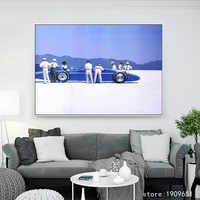 Pas de cadre impression chiffres vintage bleu voiture toile impressions peinture à l'huile imprimé sur coton hôtel mur art décoration photo