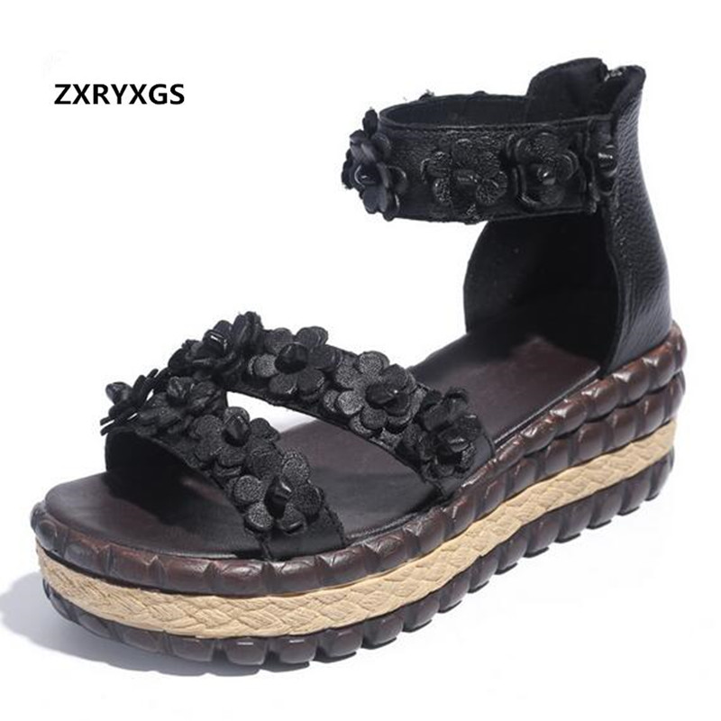 2019 Famous New Summer Retro Platform Shoes Woman Sandals Leather Wedge with Personality Flowers Women Shoes