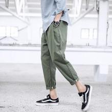 New Men's Clothing Spring cotton pants nine thin retro loose feet Haren pants
