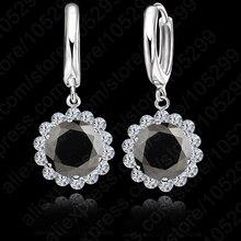 JEXXI New Arrival 925 Sterling Silver Shining CZ Crystal  Ear  Earrings Wedding Jewelry  Free Shipping