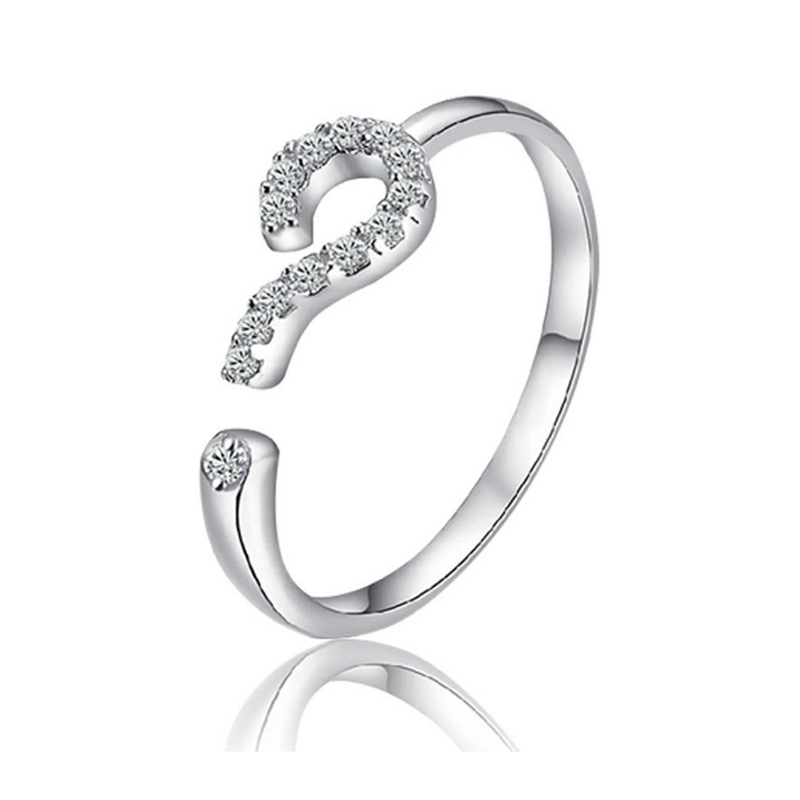 Ring for women question mark ? openings wedding bands rhinestones Scarves buckle top quality plated nickel free fashion jewelry