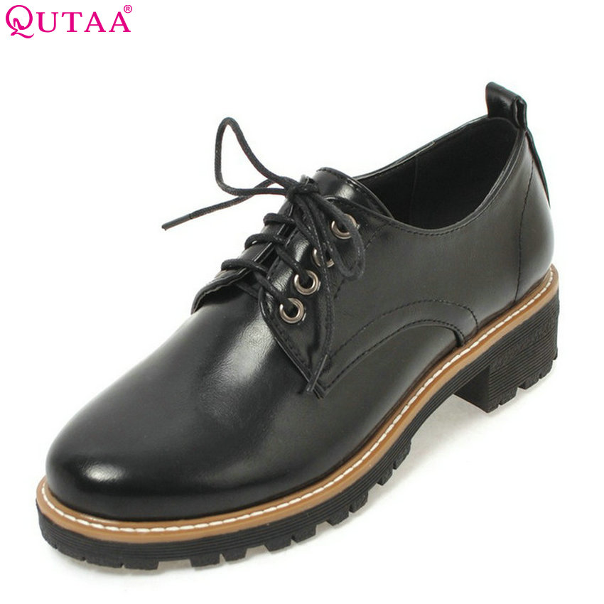 QUTAA 2018 Women Pumps Pu Leather Fashion Women Shoes Lace Up Square High Heel Round Toe All Match Women Shoes Size 34-43 цены онлайн