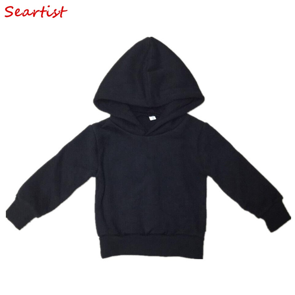 Seartist Baby Boys Girls Hoodies Boy Girl Sweatshirt Kids Plain Black Grey Pakaian Bebe Sweater Hoodie Boys Pakaian 2019 30C Baru