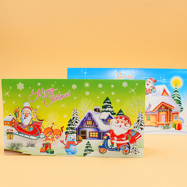 Aliexpress buy 16 pieceslotleiso brand merry christmas 16 pieceslotleiso brand merry christmas cartoon snow house greeting card message m4hsunfo