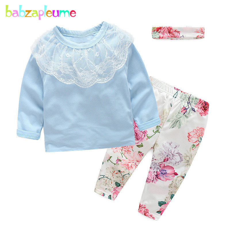 Spring Autumn Newborn Baby Clothes Cotton Long Sleeve T-shirt+Flowers Pants+Headband Girls Outfits Infant Clothing Set BC1627