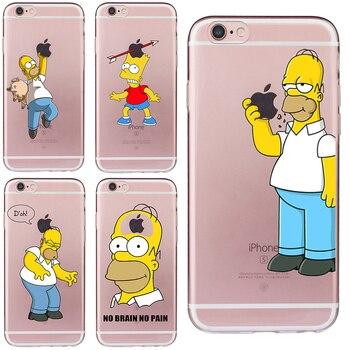 Cartoon Homer Case for iphone 6 6s 5 5s SE 7 8 plus Cover Simpson Cheap Mobile Phone Bag Soft TPU Silicone Transparent Fundas