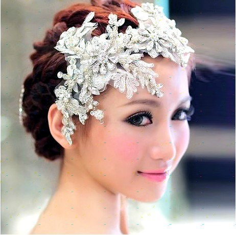 Free Shipping Bridal Headdress Lace Short Hair Twin Flower Handmade Pearl Diamond Wedding Accessories Veil