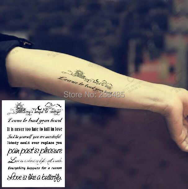 English Poem Line Tattoo Sticker Waterproof Sexy Wrist Arm