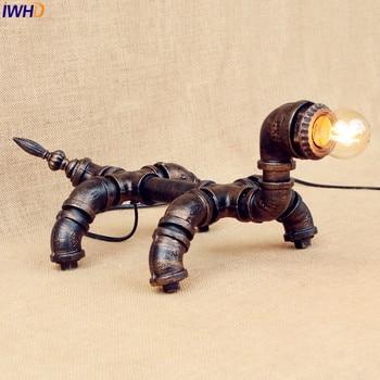 IWHD Wasser Rohr Tischlampe Wohnzimmer Schlafzimmer Kleiner Hund Stil Loft Industrie Tischlampen Dekorative Lampara De Mesa