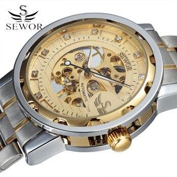 Sewor الرجال stainess الصلب هيكل عظمي الميكانيكية ووتش الماس والساعات الذهبية شفاف steampunk montre أوم اليد