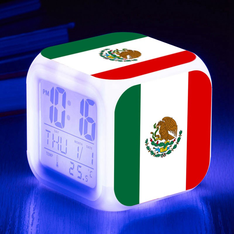 2018 customized kids watch mexican flag square led alarm clock