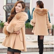 9 Colors Women Woolen Coats 2015 New Fall And Winter Fur Collar Woolen Cape Coat Cape Bat Sweet Style casacos femininos