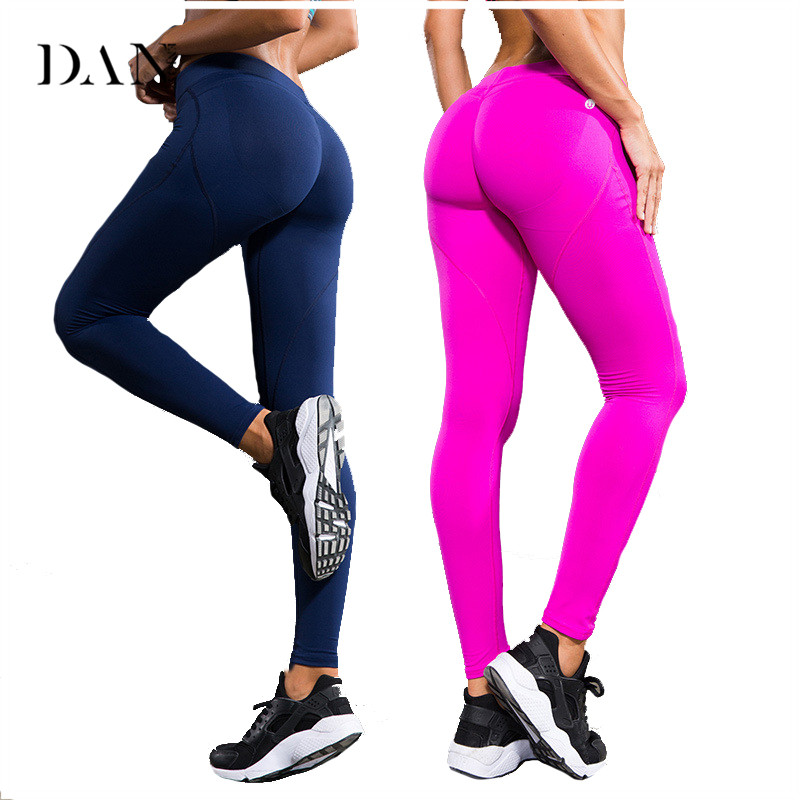 DANENJOY Women Yoga Pants Sports Sexy Hips Push Up Tights Fitness Exercise Running Jogging Trousers Gym Slim Compression Pants