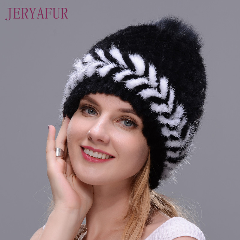 New Fashion Winter Ear Warm Women Knitting Two-color Match Cap Real Natural Mink Hats Cross-weave With Fox Fur Pompom On The Top the new children s cubs hat qiu dong with cartoon animals knitting wool cap and pile