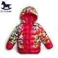 New2016 Девочек Ветровки Девушки зимнее пальто Куртки для девочек детская одежда Цветочные Куртка девушки верхняя одежда для детей 6-7-8Years