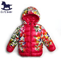 New2016 Girls Parkas Girls winter coat Jackets for girls children's clothing Floral Jacket girls outerwear for kids 6-7-8Years