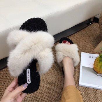 Zapatillas de piel auténtica para mujer, moda de verano, piel de visón peluda, zapatos de sandalia planos, Chanclas de playa