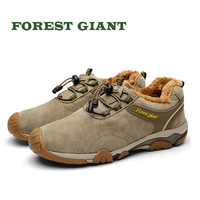 FOREST GIANT Winter Casual Shoes for Men Warm Fur Shoes Comfortable Round Toe Lace up Flat Wear resistant Shoes 8860W
