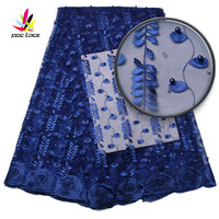 Blue Lace Fabric High Quality 2017 Fashion African Lace Fabric Tulle With Stones African French Lace Fabric For Dress AMY970B-2